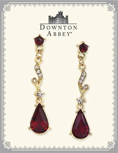 DOWNTON ABBEY RUBY RED LINEAR EAR DROPS