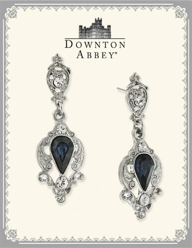 Edwardian Jewelry | Downton Abbey Earrings, Necklaces, Rings Downton Abbey Blue Sapphire Silver Drop Earrings $49.95 AT vintagedancer.com