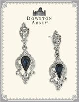DOWNTON ABBEY BLUE SAPPHIRE SILVER DROP EARRINGS