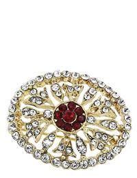 Downton Abbey Ruby Jeweled Gold Pave Brooch