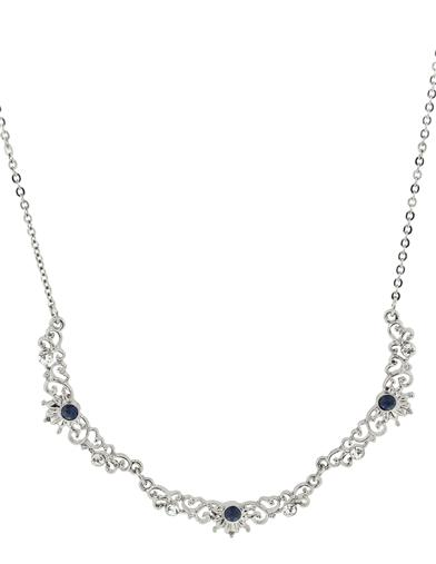 Downton Abbey Sapphire Crystal Scallop Necklace
