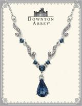 DOWNTON ABBEY BLUE SAPPHIRE SILVER SCROLL NECKLACE