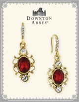 DOWNTON ABBEY RUBY OVAL DROP EARRINGS