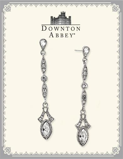 DOWNTON ABBEY WHITE DIAMOND CRYSTAL DROP EARRINGS