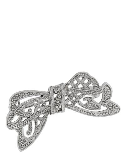 1930s Jewelry | Art Deco Style Jewelry Downton Abbey Silver Crystal Bow Pin $19.95 AT vintagedancer.com