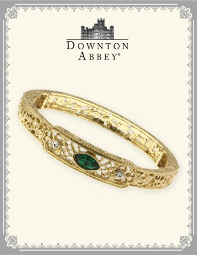 DOWNTON ABBEY EMERALD JEWEL GOLD BANGLE