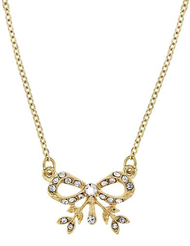Vintage Style Jewelry, Retro Jewelry Downton Abbey Gold Crystal Edwardian Bow Necklace $19.95 AT vintagedancer.com