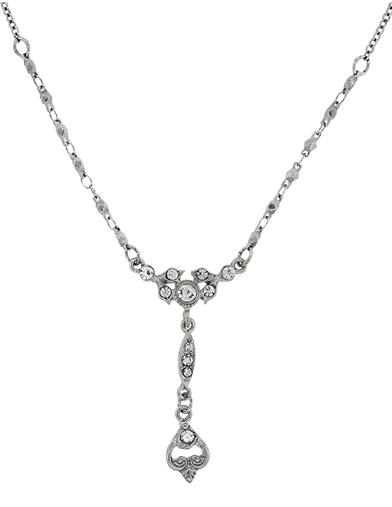 Vintage Style Jewelry, Retro Jewelry Downton Abbey Silver Crystal Y Necklace $29.95 AT vintagedancer.com