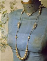 Robin Goodfellow Long Lace Pearl Necklace
