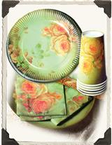 BUTTERY ROSES PAPER PLATES, CUPS & NAPKINS (16 CT)