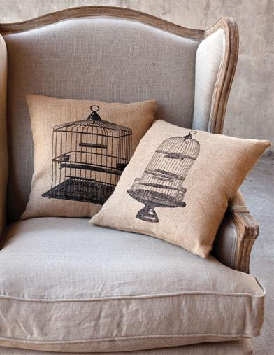 CANARY CAGE TOSS PILLOWS (SAVE ON SET)