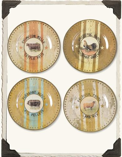 ASSORTED FARM ANIMAL FEED PLATES (SET OF 4)
