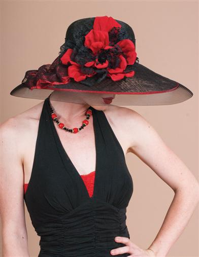 Edwardian Hats, Titanic Hats, Tea Party Hats Louise Green Roses Black Straw Picture Hat $399.95 AT vintagedancer.com