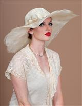 LOUISE GREEN CREAM FLOPPY HAT