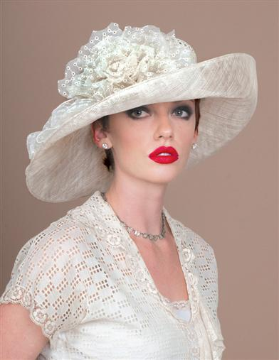 LOUISE GREEN IVORY ROSE HAT
