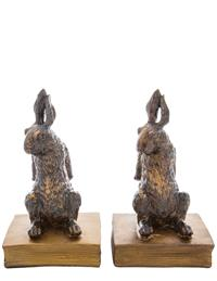 Gilded Bunny Bookends