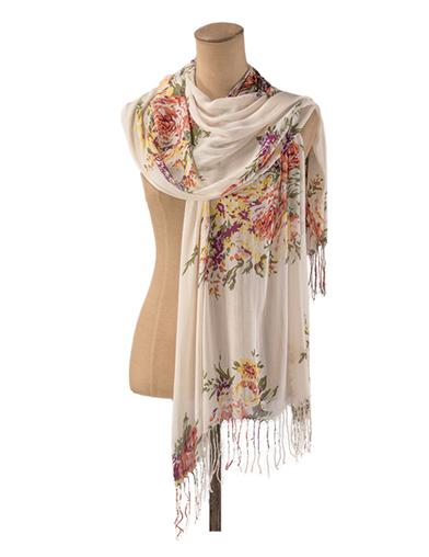 Vintage Scarves- New in the 1920s to 1960s Styles Cottage Garden Scarf $19.95 AT vintagedancer.com