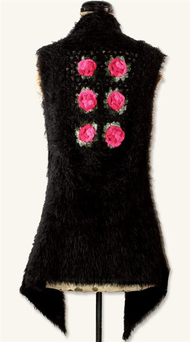 CROCHETED ROSES BLACK VEST
