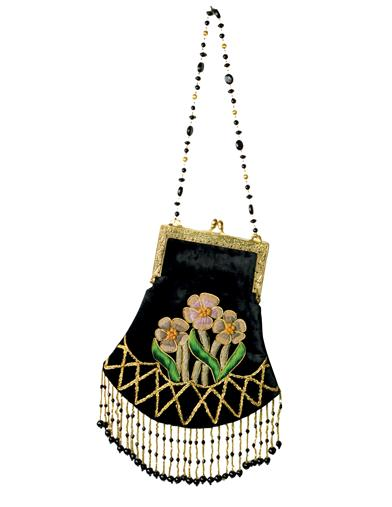 1930s Handbags and Purses Fashion Black Velvet Beaded Purse $39.95 AT vintagedancer.com