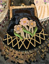 Black Velvet Beaded Purse