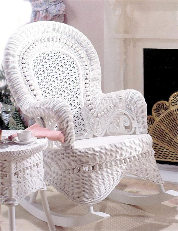 amelia wicker rocker white wicker rocking chair. Black Bedroom Furniture Sets. Home Design Ideas
