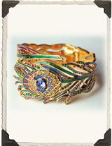 JEWELED PEACOCK FEATHER CUFF