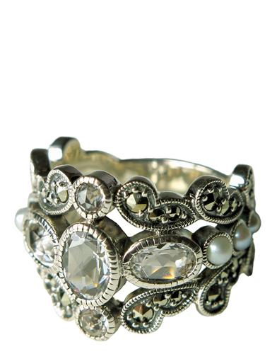 Victorian Jewelry Rings, Earrings, Necklaces, Hair Jewelry AlexandriaS Secret Marcasite  Pearl Ring $99.95 AT vintagedancer.com