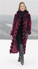 RUFFLED BROADTAIL FAUX FUR COAT