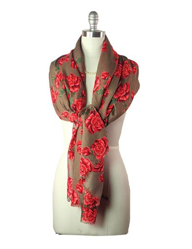 Victorian Accessories- Fan, Gloves, Purse, Belt, Spats, Wig Fiery Roses Scarf $19.95 AT vintagedancer.com