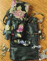 BROCADE JEWELRY ROLL & POUCH