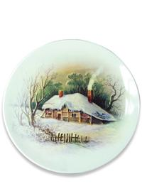 Homestead In Winter Plates (Set Of 4)