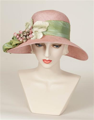 1930s Style Hats | 30s Ladies Hats Louise Green Pink Pouf Hat $299.95 AT vintagedancer.com