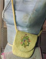 FELTED WOOL CROSSBODY PURSE (SAFFRON)
