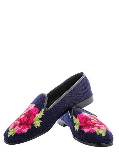 Retro Vintage Flats and Low Heel Shoes Nightblooming Peony Needlepoint Flats $198.00 AT vintagedancer.com