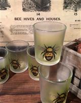 VINTAGE BEE LOGO VOTIVE CUPS (SET OF 4)