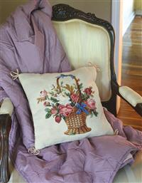FLOWER BASKET NEEDLEPOINT PILLOW
