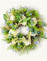HYDRANGEA & BLUE GYPSO SWEET HUCK WREATH