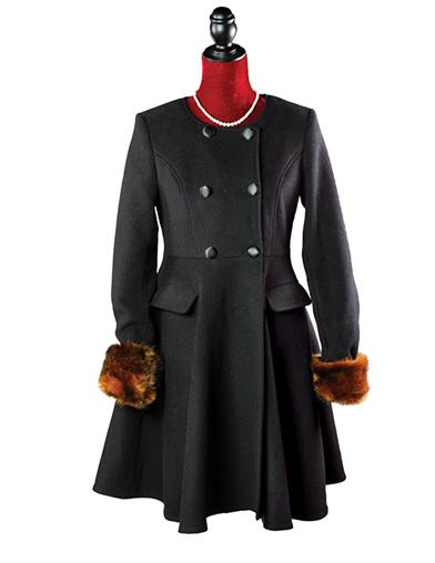Vintage Coats & Jackets | Retro Coats and Jackets Faux Fox Trimmed London Coat With Detachable Cape $149.99 AT vintagedancer.com