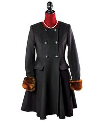 Faux Fox Trimmed London Coat With Detachable Cape