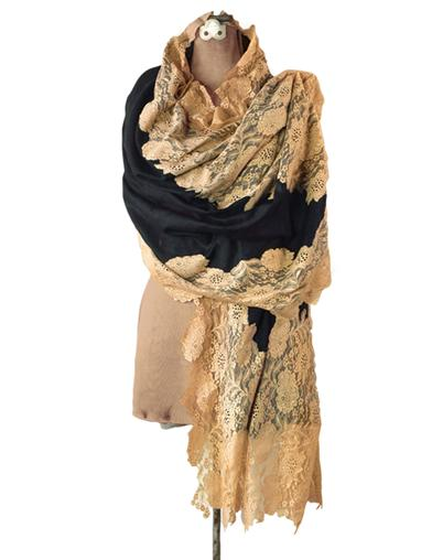 Victorian Wraps, Capes, Shawl, Capelets Cashmere  Lace Wrap $99.95 AT vintagedancer.com