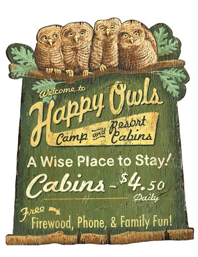 Happy Owls Cabin Sign