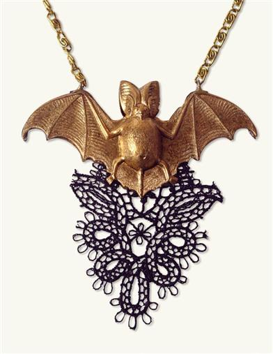 Victorian Costume Jewelry to Wear with Your Dress Prissy Bat Necklace $29.99 AT vintagedancer.com