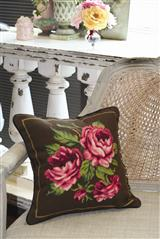 ENGLISH ROSES NEEDLEPOINT PILLOW