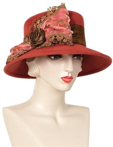 Edwardian Style Hats, Titanic Hats, Derby Hats Louise Green Autumnal Hat $299.95 AT vintagedancer.com