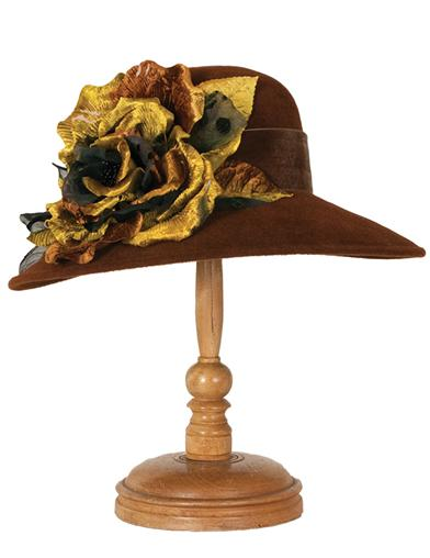 Edwardian Style Hats, Titanic Hats, Derby Hats Louise Green Bronze Bloom Hat $399.95 AT vintagedancer.com