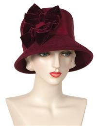 BURGUNDY BOWS HAT