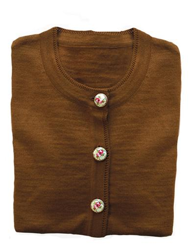 Victorian Inspired Womens Clothing Floral Button Cardigan $49.95 AT vintagedancer.com
