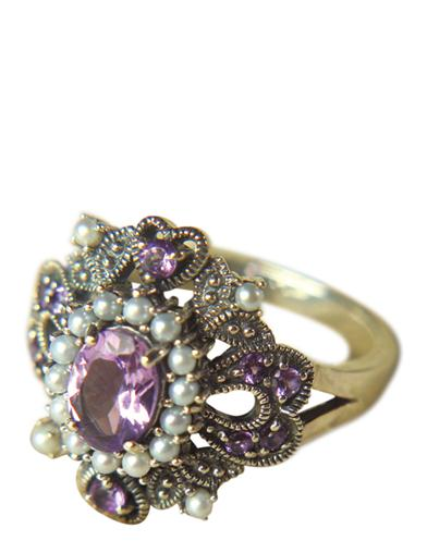 Victorian Costume Jewelry to Wear with Your Dress Amethyst Ring $79.95 AT vintagedancer.com
