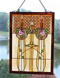 ENCHANTED ROSE STAINED GLASS PANEL