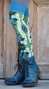 BLUE & GREEN FLOWERED KNEE HIGH SOCKS